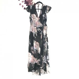 Band of Gypsies Sheer Black Floral Maxi Dress